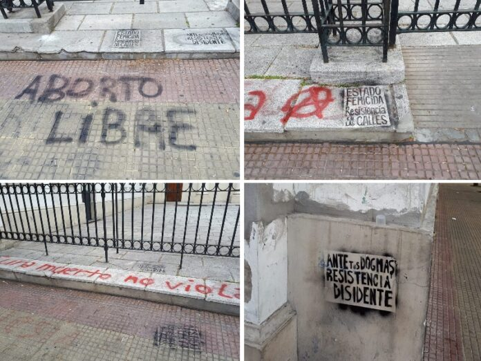 Ultrafeministas vandalizan catedral Lomas