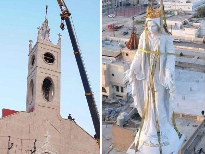 Virgen María iglesia destruida